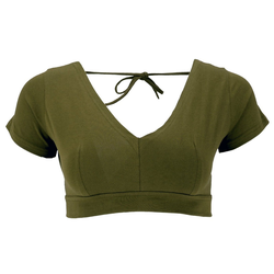 Guru-Shop T-Shirt Choli Top, bauchfreies Top Goa-chic - olivgrün M/L