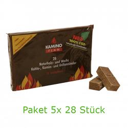 KaminoFlam Naturholz- und Wachs Kohle-, Kamin- Grillanzünder 5x 28Stk