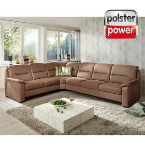 polsterpower Ecksofa - braun - Basismodell - 2-Sitzer links