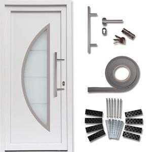 kuporta Kunststoff Haustür Ramos Türen 98 x 208 cm DIN links weiß mit Stoßgriff-Set Montageset Fugendichtband