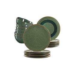 LEONARDO Geschirr-Set MATERA Geschirr Tafelservice grün18-teilig (18-tlg), Keramik