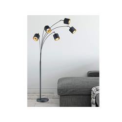 TRIO LED Stehlampe, moderne Design Stand-Lampe mit Stoff-Lampenschirm große Retro Bogen-Leuchte über Esstisch