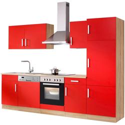 HELD MÖBEL Küchenzeile Toronto, mit E-Geräten, Breite 280 cm rot