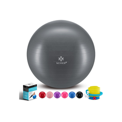 KESSER Gymnastikball, Fitness Ball Gymnastik mit Luftpumpe dicker Yogaball BPA-frei Sitzball Anti-Burst grau 65 cm