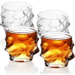 Intirilife Whiskyglas, Glas, 4x Whisky Glas in KRISTALL KLAR 'SCULPTURED' - Old Fashioned Whiskey Kristallglas