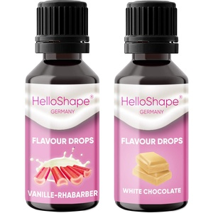 Flavour Drops zuckerfrei Set 2x 30 ml - Vanille-Rhabarber & Weisse Schokolade | Geschmackstropfen OHNE KALORIEN zum Süßen mit Dosierhilfe | vegan | Für Naturjoghurt, Porridge oder Quark - Hello Shape