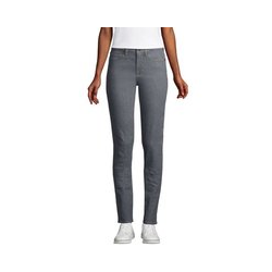 Farbige Straight Fit Jeans Mid Waist, Damen, Größe: 44 32 Normal, Blau, Denim, by Lands' End, Schieferstein - 44 32 - Schieferstein