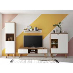 Fernseher Wohnwand in Weiß und Eiche 300 cm breit (4-teilig)