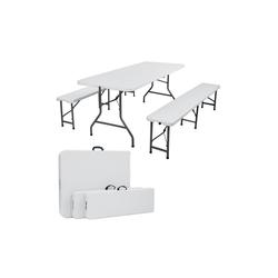Arebos Bierzeltgarnitur AREBOS Bierzeltgarnitur Festzeltgarnitur Biertisch Set klappbar Campingtisch, (Set, Garnitur) weiß
