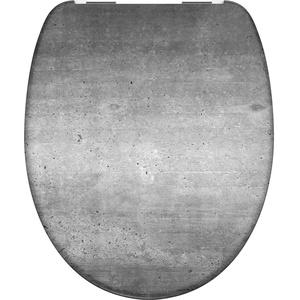 WC-Sitz - Toilettendeckel | Klodeckel mit Absenkautomatik | Duroplast | Toilettensitz mit Muster (Industrial Grey)