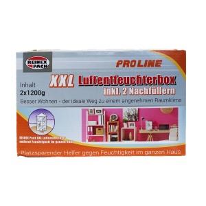 Reinex Luftentfeuchter Box, Hilft gegen Feuchtigkeit im ganzen Haus, 1 Box inkl. 2 x 1,2 kg Nachfüllpacks