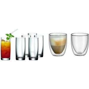 WMF Easy Longdrinkgläser Set 6-teilig 350ml, Cocktailglas, Kristallglas, spülmaschinengeeignet & Kult doppelwandige Cappuccino Gläser Set 2-teilig, doppelwandige Gläser 250ml, Schwebeeffekt