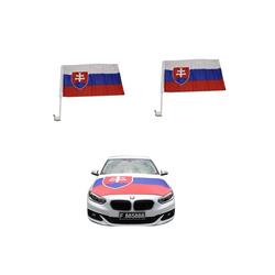 Sonia Originelli Fahne Auto Fan-Paket Haubenfahne Fensterfahnen Spiegelfahnen Magnetflaggen Slowakei Slovakia, Fanartikel für das Auto in Slowakei-Farben Fanset-10