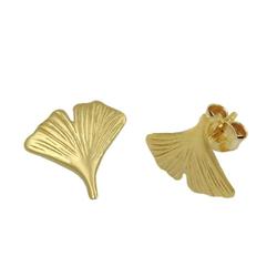 Gallay Paar Ohrstecker Stecker 12mm Ginkgoblatt mattiert 9Kt GOLD (inkl. Schmuckbox), Goldschmuck für Damen