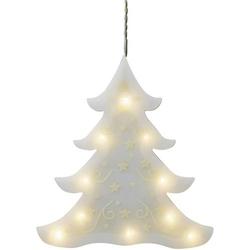 Hellum 522495 LED-Fensterbild Weihnachtsbaum LED Weiß (frosted) Timer, mit Saugnapf