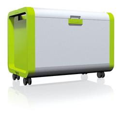 Smarty Aufbewahrungsbox Stapelbare Aufbewahrungsbox mit Deckel und Rollen, stapelbar, Klickverschluss, wetterfest