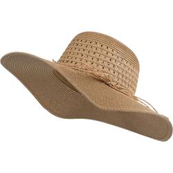styleBREAKER Sonnenhut Großer Sonnenhut mit Hutband und Schleife Strohhut Großer Sonnenhut mit Hutband und Schleife Strohhut braun