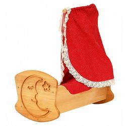 ERST-HOLZ 933-3072 Puppenwiege, Drewart Puppenwiege aus Holz mit Bettzeug und Himmel 933 3072