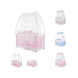 Chipolino Baby-Reisebett Reisebett und Laufstall Sahara, Wickelauflage, 2 Ebenen, mit Betthimmel rosa