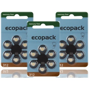 18 X Varta Ecopack Typ 312 Mercury Free Hörgerätebatterien Pr41