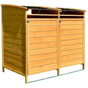 Mucola Mülltonnenbox Mülltonnenbox Doppelbox für 2 Tonnen Mülltonnenverkleidung Mülltonne 240L Gartenbox Anbaubox Holz Anbau Deckel Grau Braun Weiß Zinkdach, mit Deckel braun