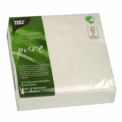 Papstar Pure Servietten, weiß, 1/4 Falz, 33 x 33 cm, 2-lagig, 1 Packung = 50 Stück