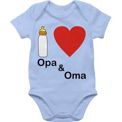 Shirtracer Shirtbody I love Opa und Oma Nuckelflasche - Up to Date Baby - Baby Body Kurzarm 3/6 Monate