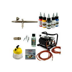 Airbrush-City Druckluftwerkzeug Airbrush Set Body Painting - Ultra 0,2 Airbrushpistole + Sparmax AC-500 Kompressor - Kit 9408, (1-St)
