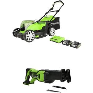Greenworks Akku-Rasenmäher G24X2LM41K2x + 24V Akku-Säbelsäge GD24RS
