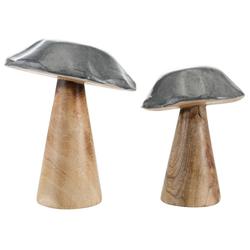 Dekofigur Pilz (Set, 2 Stück), aus Mangoholz