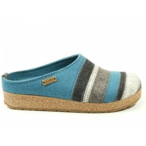 Haflinger Schuhe Damen Hausschuhe Pantoffeln Wolle Grizzly Stripes 711049