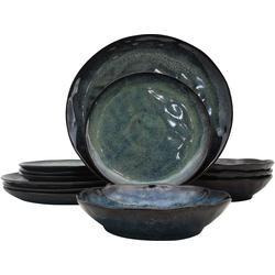 andas Geschirr-Set Hokksund (12-tlg.), Steinzeug grün Geschirr-Sets Geschirr, Porzellan Tischaccessoires Haushaltswaren