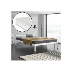 en.casa Massivholzbett (aus massiver Kiefer), Lynge mit Kaltschaummatratze und Lattenrost weiß 146 cm x 206 cm x 50 cm