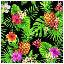 Linoows Papierserviette 20 Servietten Tropen Ananas, Blüten & Palmenblätte, Motiv Tropen Ananas, Blüten und Palmenblätter schwarz