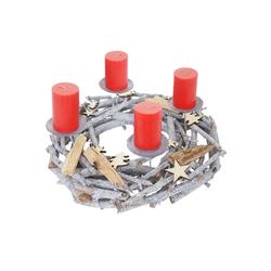 MCW Adventskranz T871, Ø 40 cm, Mit 4 Kerzenhaltern, Aufwendig geschmückt grau