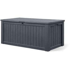 Koll Living Auflagenbox/Kissenbox 570 Liter l 100% Wasserdicht l mit Belüftung dadurch kein übler Geruch/Schimmel l Moderne Holzoptik l Deckel belastbar bis 250 KG (2 Personen) (GRAU)