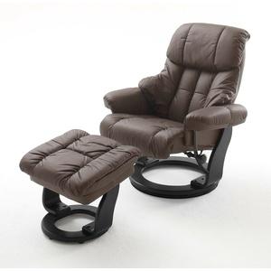 Relaxsessel braun Leder Fernsehsessel + Hocker Holz schwarz Liegesessel Calgary