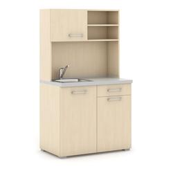 Büroküche primo, spülbecken, mischbatterie, 1/2 tür, birke