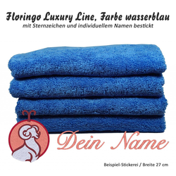 Luxus-Handtuch mit Sternzeichen und Namen bestickt