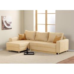 Ecksofa in beige, Schlaffunktion, Bettkasten und 2 Zierkissen, Schenkelmaß: 235 x 155 cm