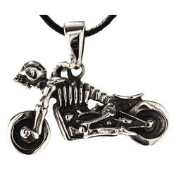 Kiss of Leather Kettenanhänger Motorrad Anhänger 925 Silber Moped Skul Biker Motorbike Skelett