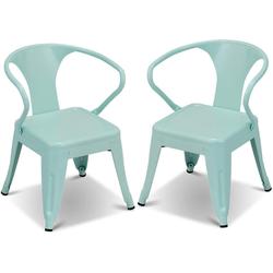 COSTWAY Kindersitzgruppe Kindersitzgruppe, (2-tlg), 2er-Set Kinderstühle, mit Rückenlehne (2 Stühle) blau