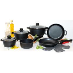 Elo - Meine Küche Topf-Set (Set, 10-tlg., 4 Töpfe, 3, Deckel, 2 Pfannen, 1 Paar Pfannenschoner) schwarz Topfsets Töpfe Haushaltswaren Topf