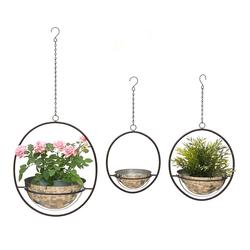 DanDiBo Blumenampel Metall Wand Hängepflanzen 96087 3er Set mit Topf Silber Pflanzenhänger Blumenhänger Topfhänger Blumen Blumentopfhänger Hängetopf