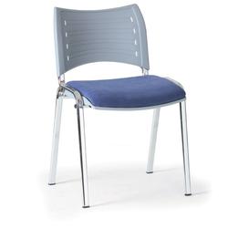 Kunststoffstuhl smart, kunststoff-rückenlehne, chromfüße blau