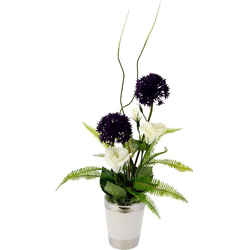 Kunstpflanze Allium/Lysianthus, I.GE.A., Höhe 46 cm, Arrangement im Topf