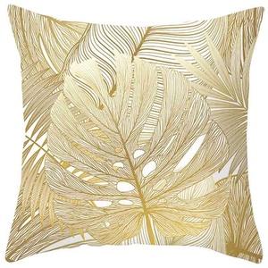 Kaiki Kissenbezug Gold Plant Print Pillowcase 45cm x 45cm, Modern kissenhülle Kopfkissenbezug Home Dekoration Pillowcase Super weich Sofakissen für Wohnzimmer Sofa Bed, (45x45cm, P)