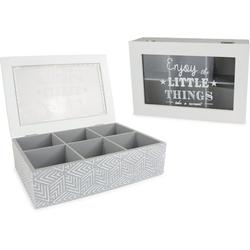 Aufbewahrungsbox, mit 6 Fächern und Schriftzug grau