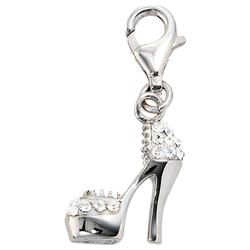 JOBO Charm-Einhänger High Heel, 925 Silber mit Kristallsteinen