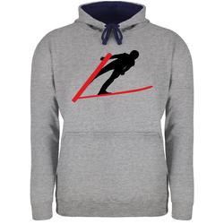 Shirtracer Hoodie Skispringer Skispringen - Wintersport - Unisex Damen & Herren Kontrast Hoodie 5XL